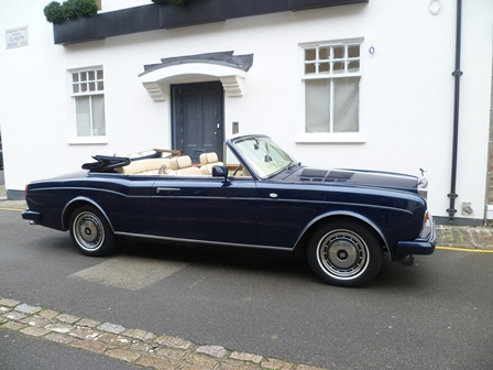 85 Corniche blue roof down